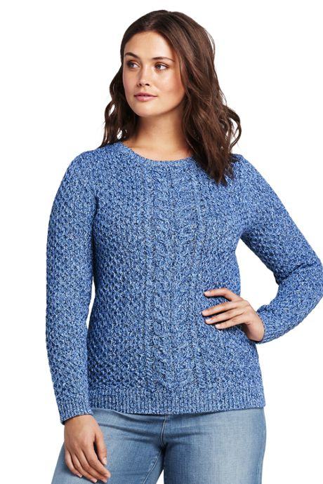 Women's Plus Size Drifter Marl Cotton Cable Sweater