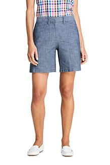 Shorts aus Baumwoll-Chambray für Damen, 18 cm