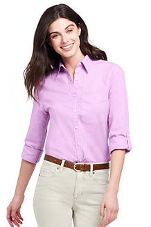 Women's Cotton/Linen Roll Sleeve Shirt