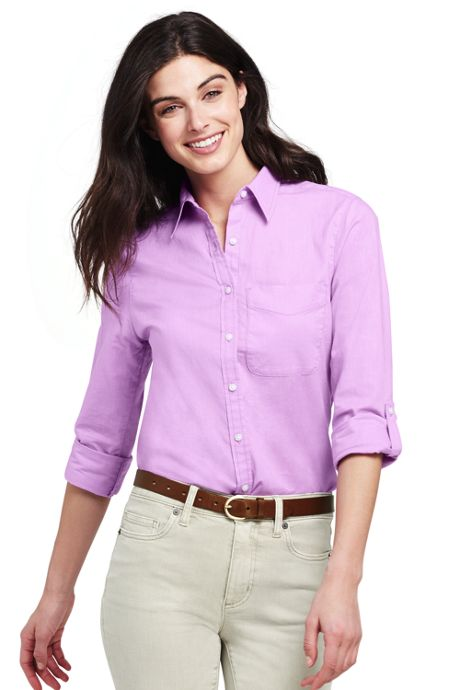Women's Roll Sleeve Cotton Linen Shirt