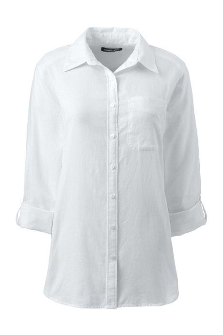 Women's Roll Sleeve Cotton Linen Shirt