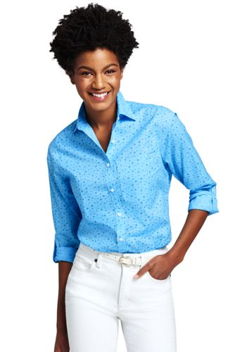 Women's Print Cotton/Linen Roll Sleeve Shirt