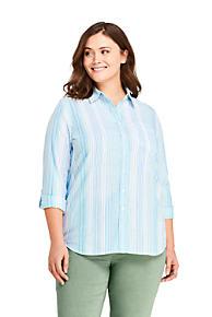 30cb7dc776d Women s Plus Size Roll Sleeve Cotton Linen Shirt