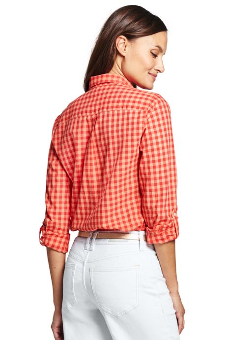 Women's Tall Cotton Linen Roll Sleeve Shirt