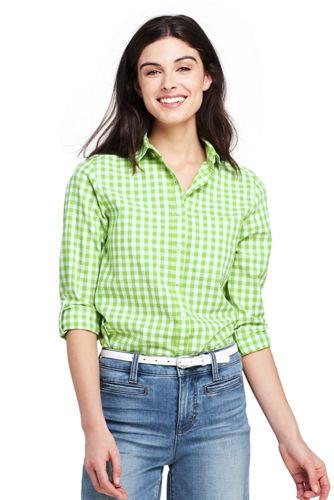 Women's Plus Patterned Cotton/Linen Roll Sleeve Shirt