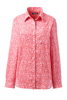 Women's Patterned Cotton/Linen Roll Sleeve Shirt