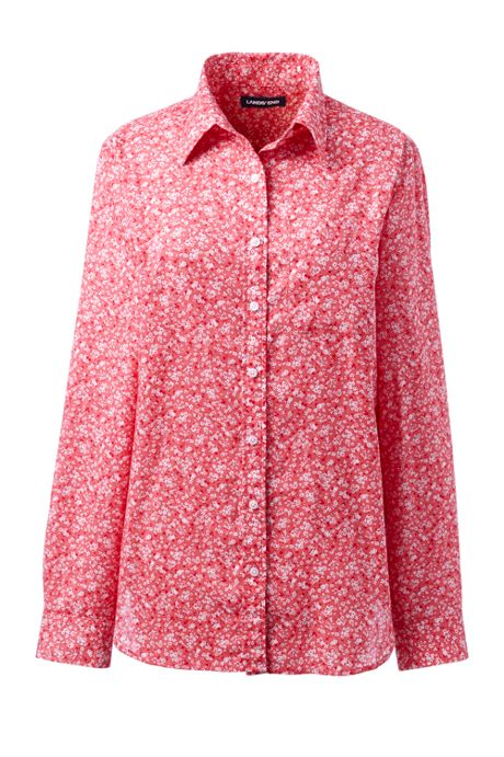 Women's Petite Roll Sleeve Cotton Linen Shirt