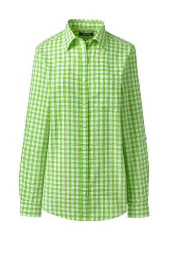 Women's Plus Patterned Cotton/Linen Roll Sleeve Shirt