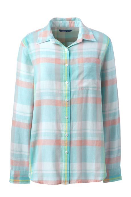 Women's Petite Cotton Linen Roll Long Sleeve Shirt