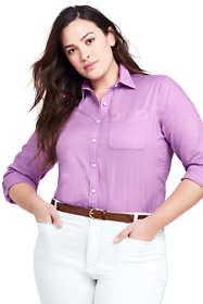 Women's Plus Size Roll Sleeve Cotton Linen Shirt