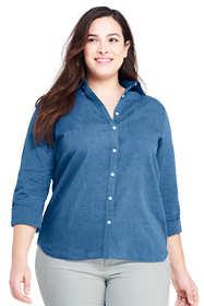 Women's Plus Size Cotton Linen Roll Sleeve Shirt