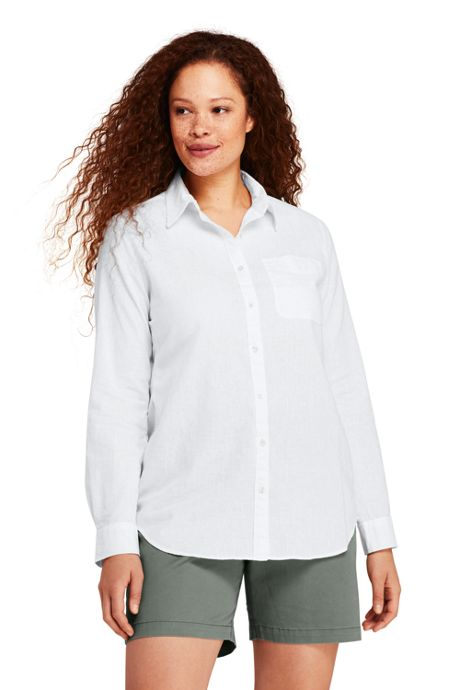 Women's Plus Size Roll Sleeve Cotton Linen Shirt