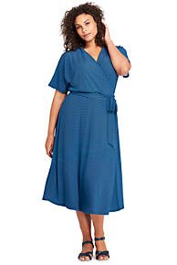 Womens Print Wrap Maxi Dress - 10 -12 - BLUE Lands End Wiki Cheap Online Discount High Quality ii5H6s