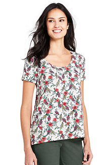 Le T-Shirt Ample Imprimé en Coton Modal Stretch, Femme