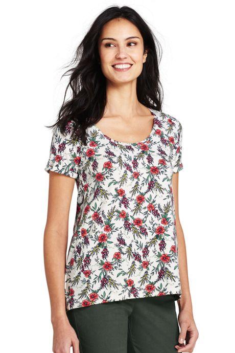 Women's Tall Floral Short Sleeve Scoop Neck T-shirt