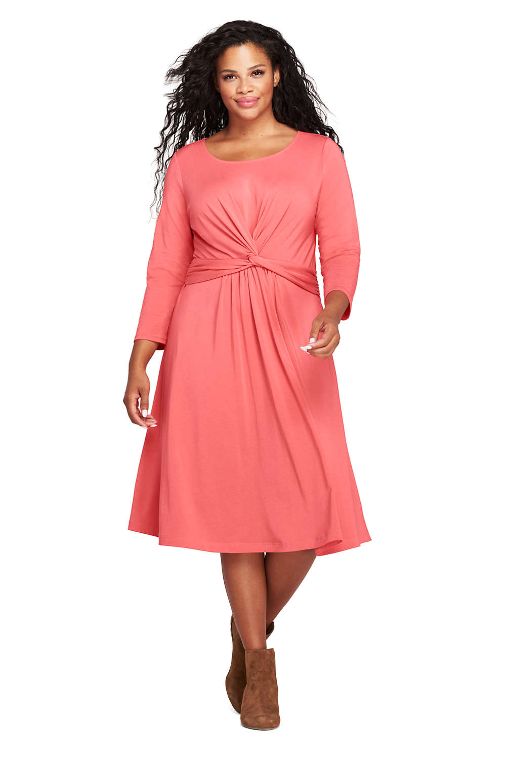 f348c559a21c1b Women's Plus Size 3/4 Sleeve Draped Fit and Flare Dress from Lands' End