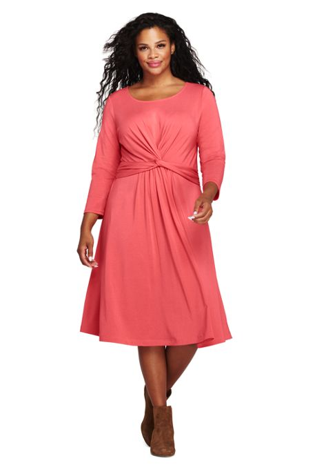 Women's Plus Size 3/4 Sleeve Draped Fit and Flare Dress