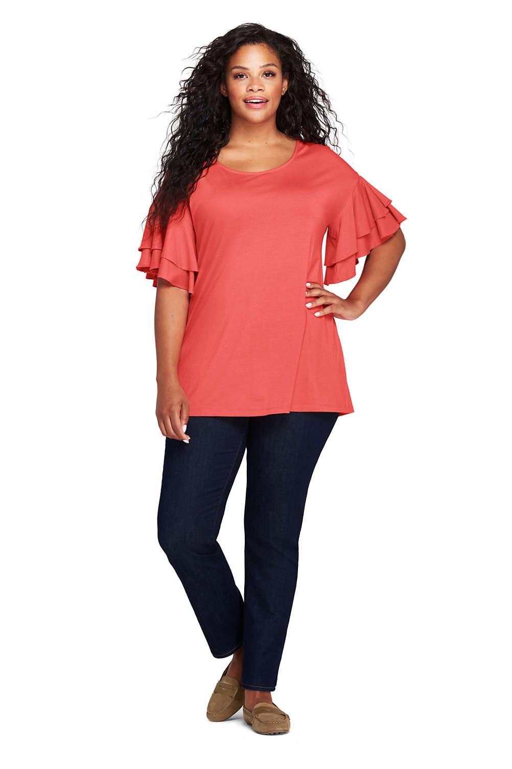 867e77f8c2e4f Women s Plus Size Stacked Ruffle Sleeve Tunic