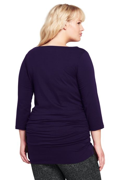 Women's Plus Size Shirred Side Scoop Neck Top