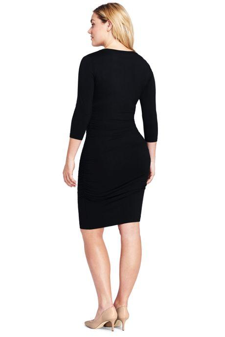 Women's Plus Size 3/4 Sleeve Shirred Side Dress