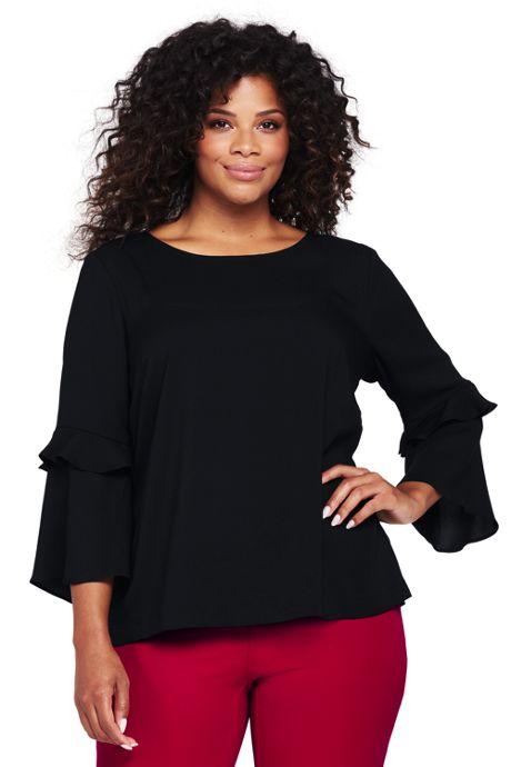 Women's Plus Size Crepe Double Flounce Sleeve Top