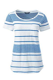 Women's Striped Cotton Jersey Pocket T-shirt