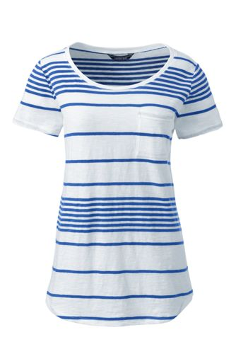 Women's Plus Striped Cotton Jersey Pocket T-shirt
