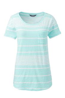 Le T-Shirt Rayé en Coton Poche Poitrine, Femme