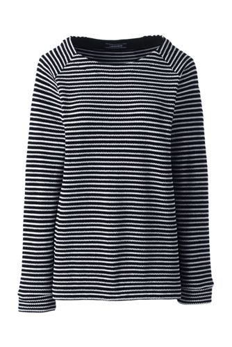 Women's Jacquard Textured Striped Crew Neck Top