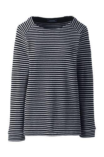 Women's Jacquard Textured Striped Crew Neck Top