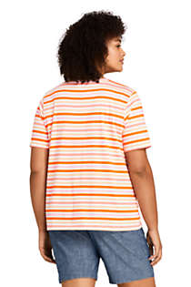 Women's Plus Size Relaxed Supima Cotton Short Sleeve Crewneck T-Shirt Stripe, Back