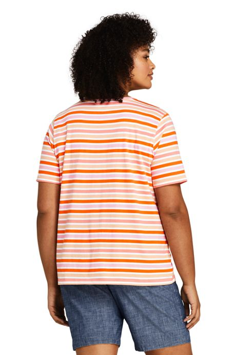 Women's Plus Size Petite Relaxed Supima Cotton Short Sleeve Crewneck T-Shirt Stripe