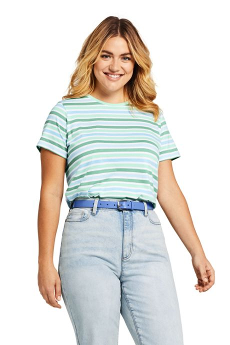Women's Plus Size Stripe Relaxed Short Sleeve Supima Cotton Crewneck T-shirt