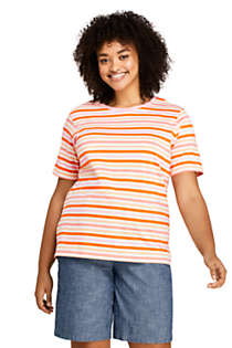 Women's Plus Size Relaxed Supima Cotton Short Sleeve Crewneck T-Shirt Stripe, Front