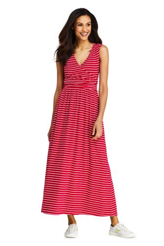 Women's Striped Wrap Maxi Dress