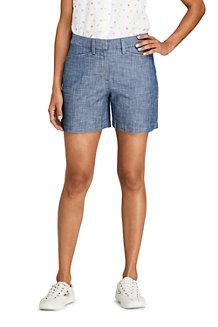 Shorts aus Baumwoll-Chambray für Damen, 13 cm