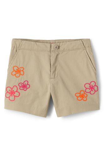 Girls' Chino Shorts with Embroidered Detail