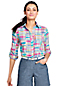 Women's Plus Madras Cotton Roll Sleeve Shirt