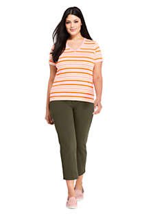 Women's Plus Size Petite Relaxed Supima Cotton Short Sleeve V-Neck T-Shirt Stripe, Unknown