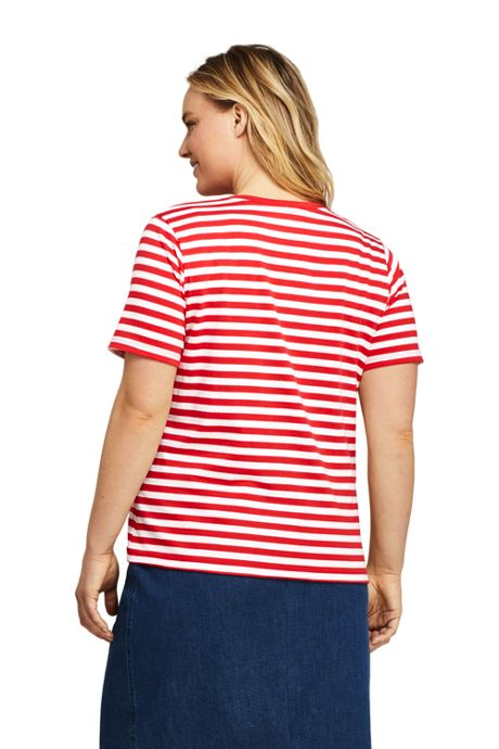 Women's Plus Size Stripe Relaxed Short Sleeve Supima Cotton V-neck T-shirt