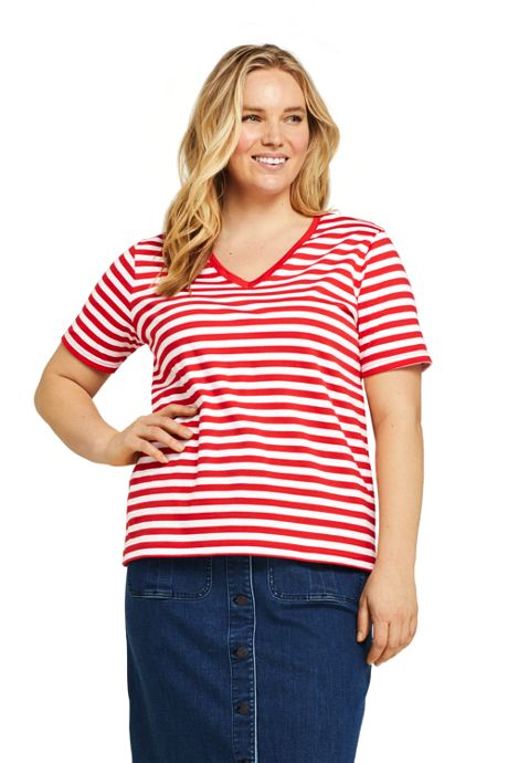 Women's Plus Size Petite Stripe Relaxed Short Sleeve Supima Cotton V-neck T-shirt