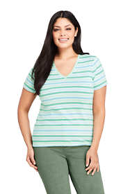 Women's Plus Size Petite Relaxed Supima Cotton Short Sleeve V-Neck T-Shirt Stripe