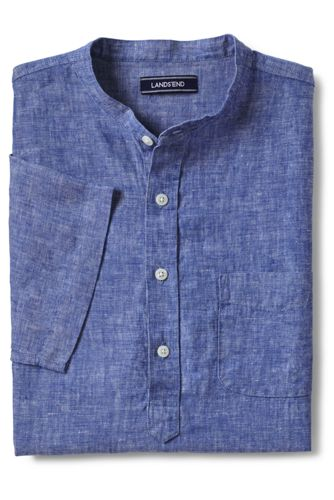 Men's Collarless Linen Shirt