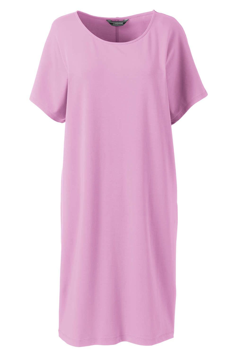 Womens Short Sleeve Knit Tee Shirt Dress From Lands End
