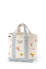 Embroidered Small Canvas Open Top Tote Bag