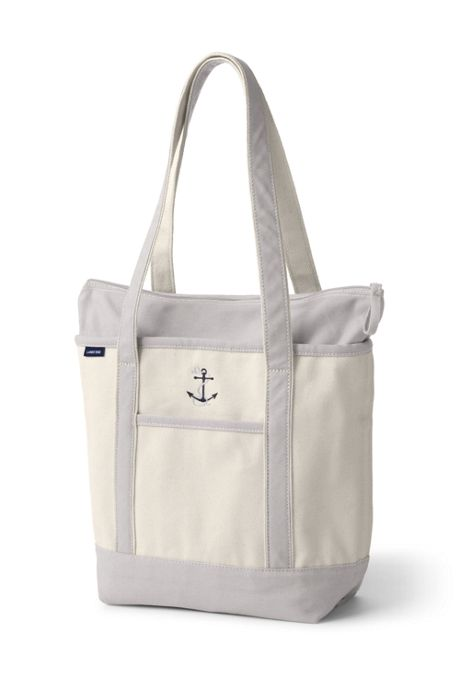 Medium Natural Zip Top Long Handle Canvas Tote Bag