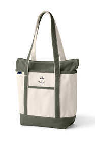 Medium Natural Zip Top Long Handle Canvas Tote Bag