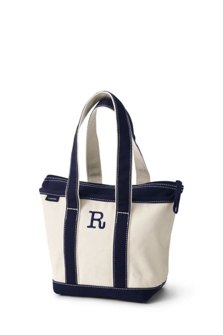 Small Natural Zip Top Long Handle Canvas Tote Bag