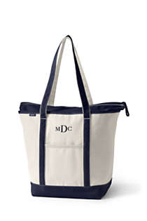 Large Natural Zip Top Long Handle Canvas Tote Bag, Front