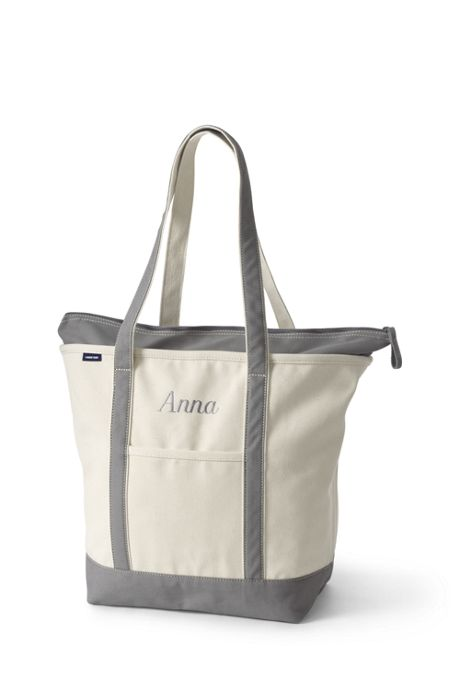 Large Natural Zip Top Long Handle Canvas Tote Bag